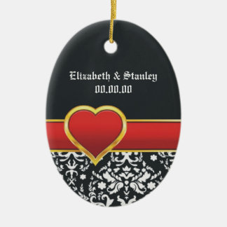 Black white damask red heart wedding Save the Date Ceramic Oval Decoration