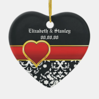 Black white damask red heart wedding Save the Date Ceramic Heart Decoration