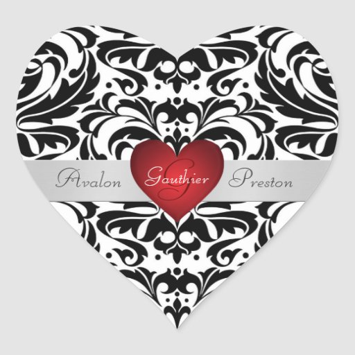Black & White Damask Red Heart Wedding Sticker | Zazzle