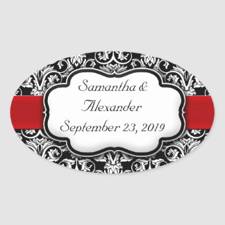 Black White Damask Red Ribbon Oval Stickers