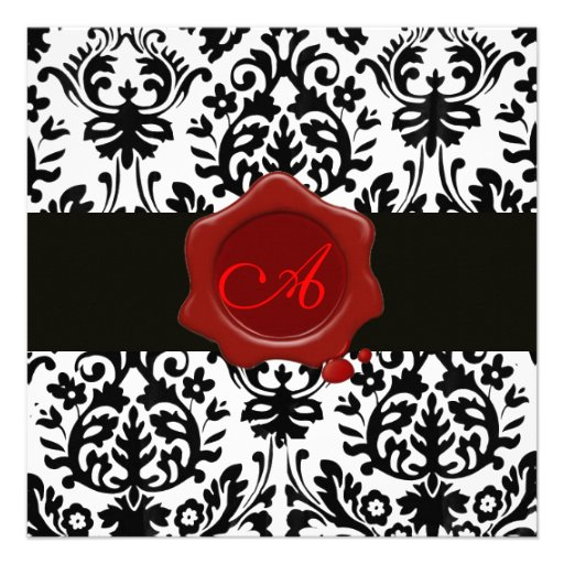 BLACK & WHITE DAMASK, RED WAX SEAL MONOGRAM Ice Invitations