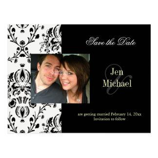 Black + white Damask Save Date Photo postcards, Postcard