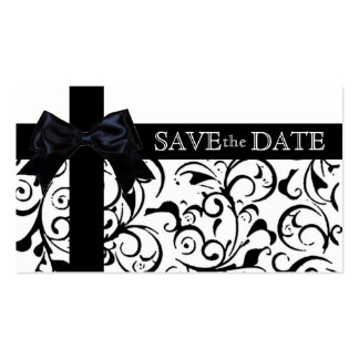 Black white damask save the date business cards