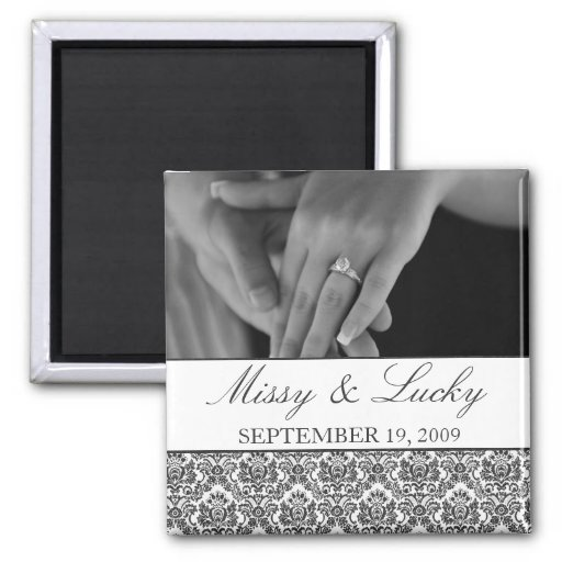 Black & White Damask Save the Date Magnet