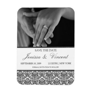 "Black & White Damask Save the Date Magnet 3"" x 4"""