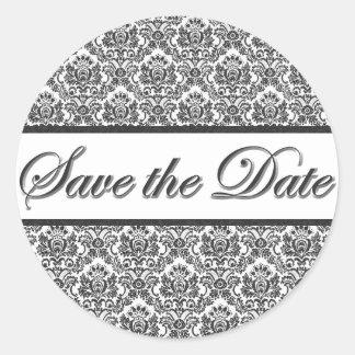 Black & White Damask Save the Date Sticker/Seal Classic Round Sticker