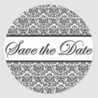 Black & White Damask Save the Date Sticker/Seal Round Sticker