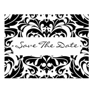 Black & White Damask Scroll Save The Date Postcard