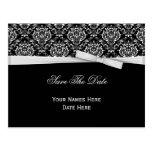 Black White Damask Silver Bow Ribbon Save The Date Postcard