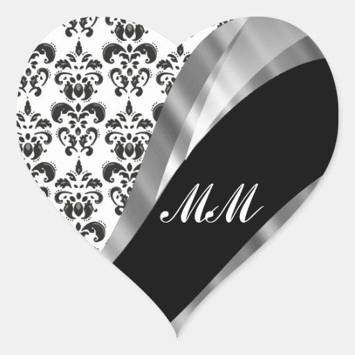 Black & white damask heart stickers