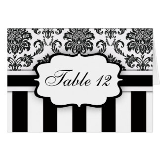 Black White Damask Stripe Table Number