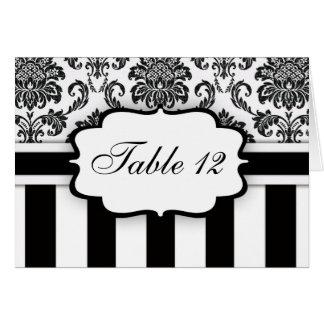 Black White Damask Stripe Table Number Card