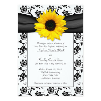 Black White Damask Sunflower Wedding Invitation