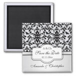 Black white Damask swirls, birds Save the Date Wed Square Magnet