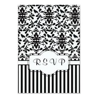 Black white Damask swirls, birds, stripes RSVP Card
