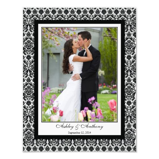 Black White Damask Template Photographic Print