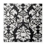 Black/White Damask Tile