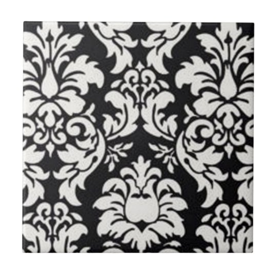 Black/White Damask Tile