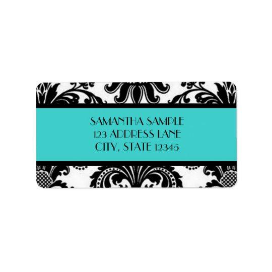 Black & White Damask, Turquoise Label