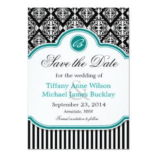 Black white damask turquoise wedding save the date 13 cm x 18 cm invitation card