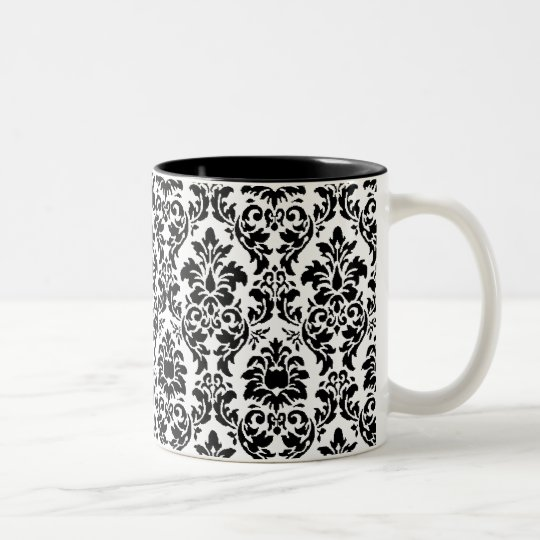 Black & White Damask Two-Tone Coffee Mug