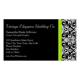 Black/White Damask w/Chartreuse Green Accent Strip Pack Of Standard Business Cards
