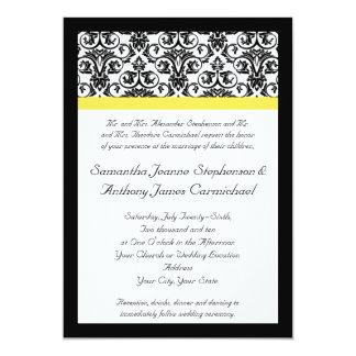 Black/White Damask w/Vibrant Yellow Card