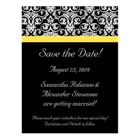 Black/White Damask w/Vibrant Yellow Postcard