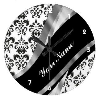 Black & white damask wall clocks