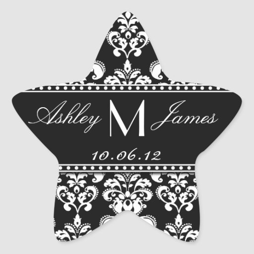 Black White Damask Wedding Favour Label Star Stickers