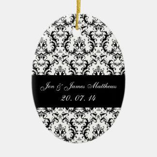 Black White Damask Wedding Favour Ornaments