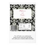 Black/White Damask Wedding Hershey's Large Wrapper Personalised Flyer