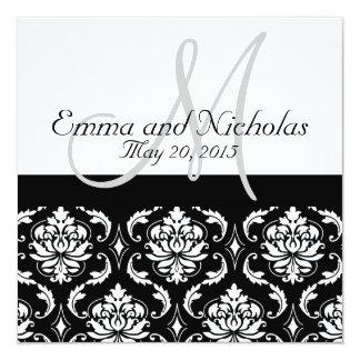 Black White Damask Wedding Invitation