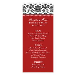 Black & White Damask Wedding Menu Rack Card