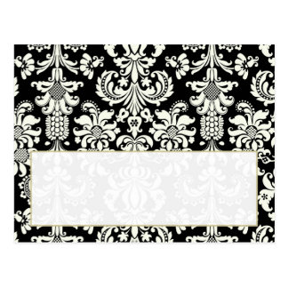 Black/White Damask Wedding Writable Place Card Postcard