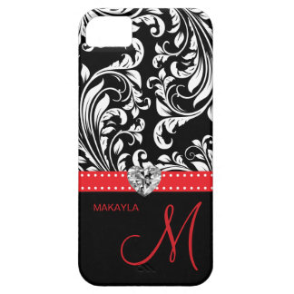 Black & White Damask with Diamond Heart & Monogram Barely There iPhone 5 Case