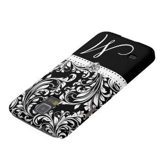 Black & White Damask with Diamond Heart & Monogram Cases For Galaxy S5