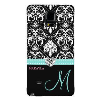 Black & White Damask with Diamond Heart & Monogram Galaxy Note 4 Case