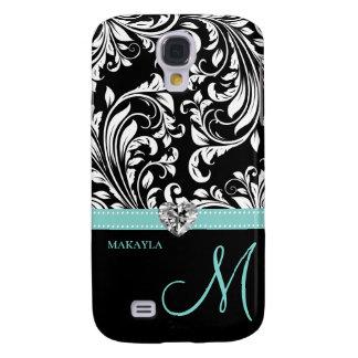 Black & White Damask with Diamond Heart & Monogram Galaxy S4 Case
