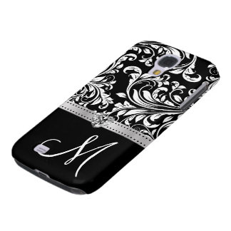 Black & White Damask with Diamond Heart & Monogram Galaxy S4 Case