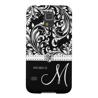 Black & White Damask with Diamond Heart & Monogram Galaxy S5 Covers