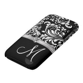 Black & White Damask with Diamond Heart & Monogram iPhone 3 Case-Mate Cases