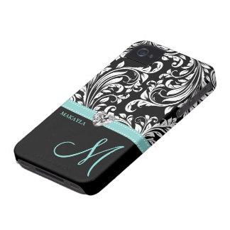 Black & White Damask with Diamond Heart & Monogram iPhone 4 Case