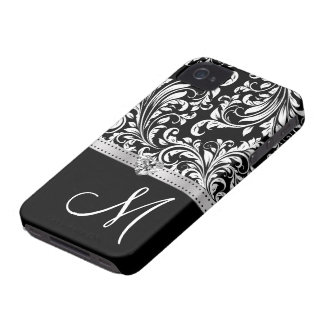 Black & White Damask with Diamond Heart & Monogram iPhone 4 Covers