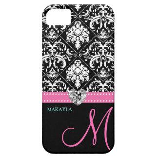 Black & White Damask with Diamond Heart & Monogram iPhone 5 Cover