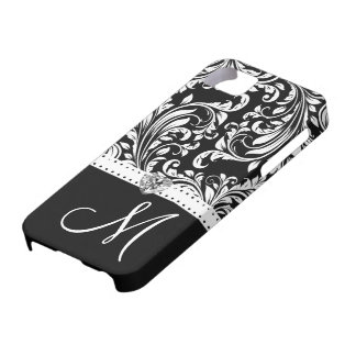 Black & White Damask with Diamond Heart & Monogram iPhone 5 Cover