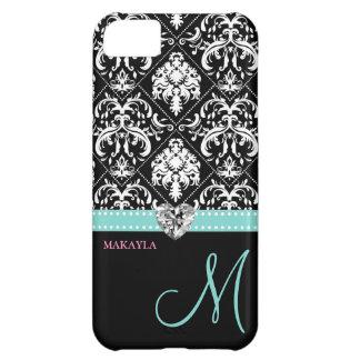 Black & White Damask with Diamond Heart & Monogram iPhone 5C Case