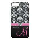 Black & White Damask with Diamond Heart & Monogram iPhone 8/7 Case