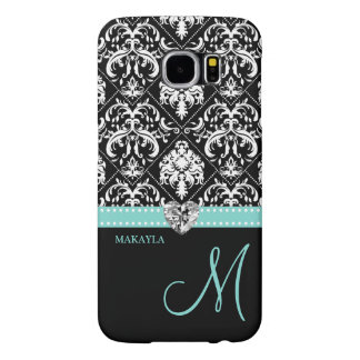 Black & White Damask with Diamond Heart & Monogram Samsung Galaxy S6 Cases