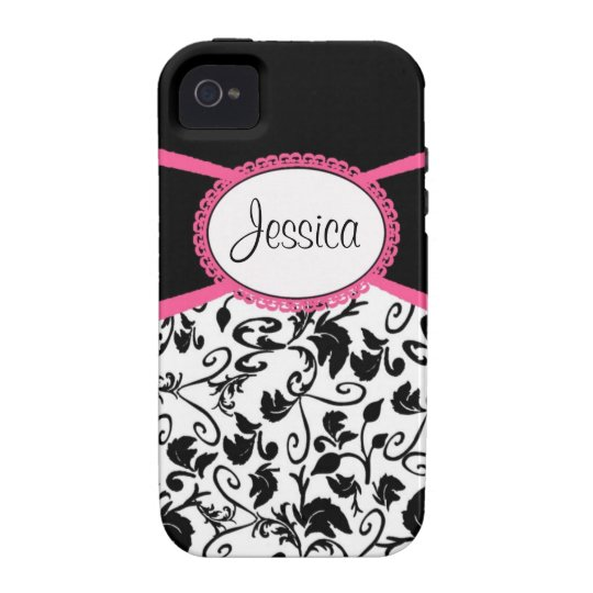 Black & White Damask with Pink iPhone 4 Case